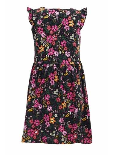 DeFacto Kız Çocuk Çiçek Desenli Kolsuz Elbise Siyah